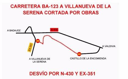 El corte de carretera de Villanueva de la Serena a la N-430 se amplía hasta el 20 de diciembre