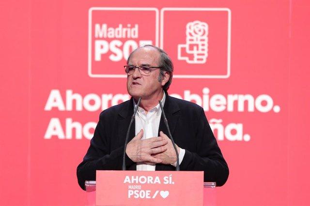 El portavoz socialista en la Asamblea de Madrid, Ángel Gabilondo, durante el acto de apertura de campaña en Madrid (España), a jueves 31 de octubre de 2019