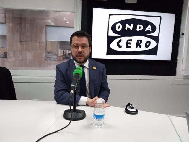 El  vicepresident de la Generalitat, Pere Aragonès, ofrece una entrevista en Onda Cero.