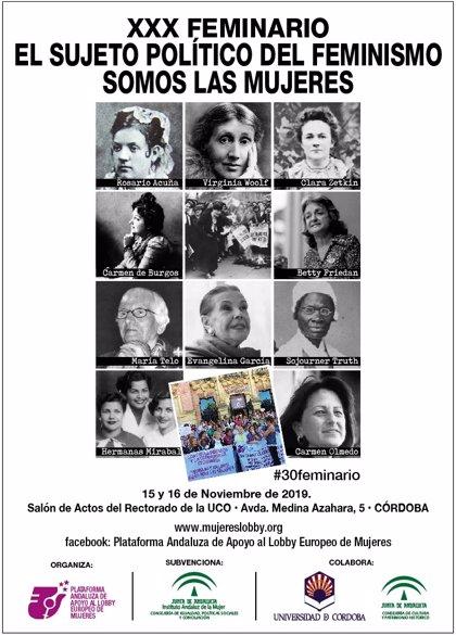 Carmen Calvo inaugura este viernes en Córdoba el XXX Feminario de Palem, centrado en las mujeres como sujeto político