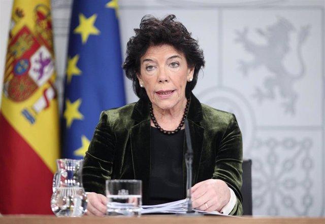 La ministra Portavoz, y de Educación y Formación Profesional en funciones, Isabel Celaá