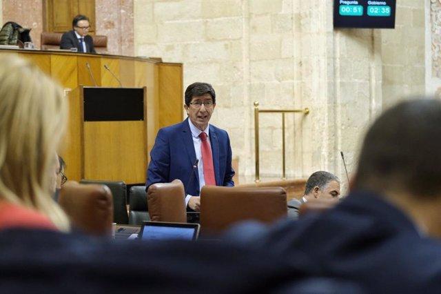 Juan Marín, en el Pleno del Parlamento andaluz