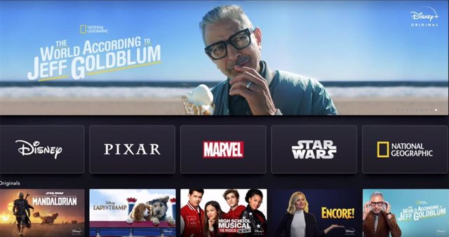 Interfaz de Disney+, el servicio de streaming de Disney