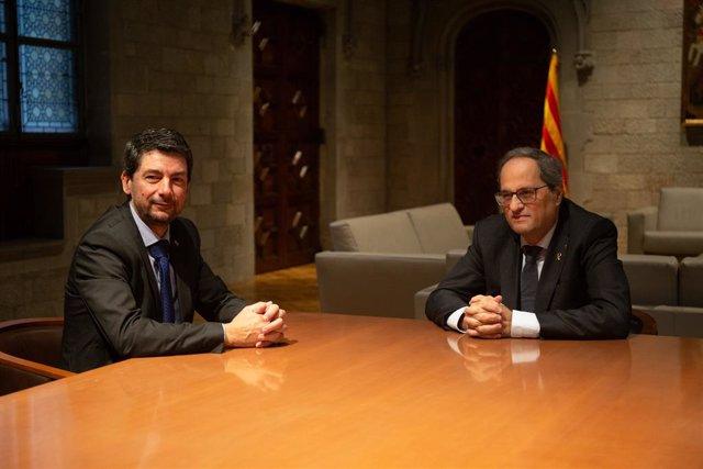 El president de la Generalitat, Quim Torra, es reuneix amb el president de la Cambra de Barcelona, Joan Canadell.