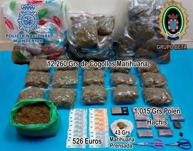 Marihuana y hachís incautado en una vivienda en Jerez
