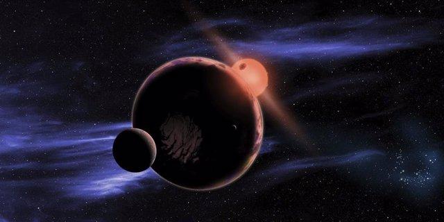 Recreación de exoplaneta con dos lunas orbitando en la zona habitable de una enana roja