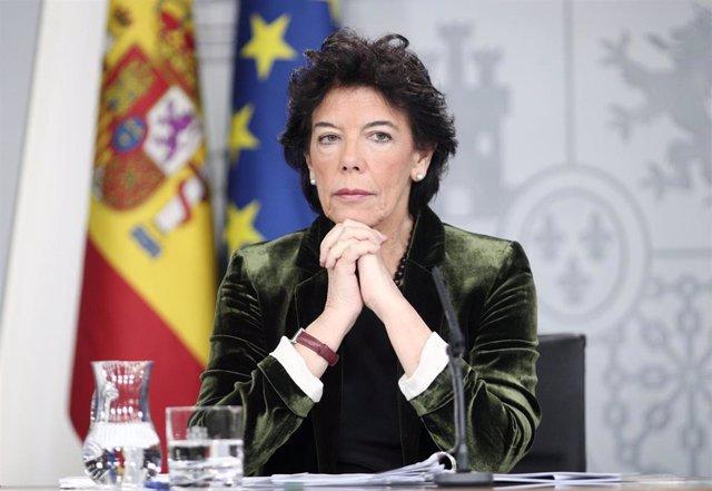 La ministra Portavoz, y de Educación y FP en funciones, Isabel Celaá