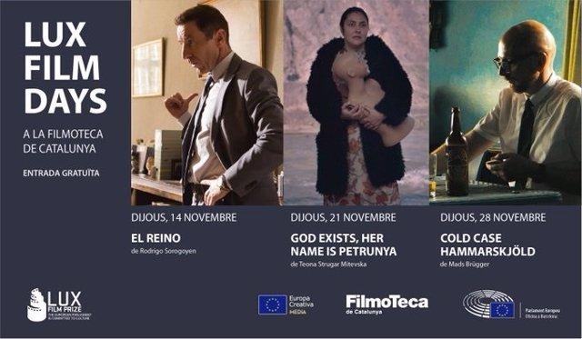 Cartell de la proyeccción en la Filmoteca de Catalunya, a Barcelona, de les tres pel·lícules finalista del Premi LUX de Cinema del Parlamento Europeu