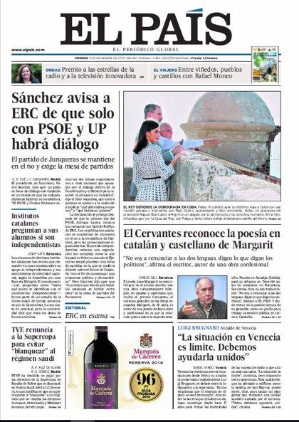 Las portadas de los periódicos del viernes 15 de noviembre de 2019