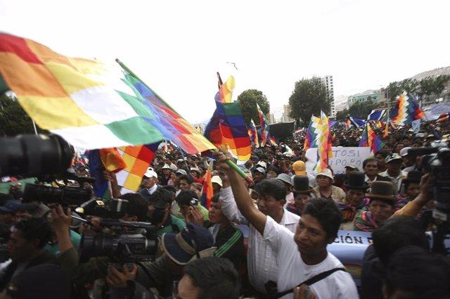 Cocaleros ondeando banderas wiphala