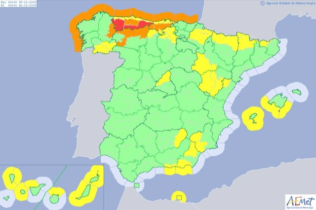 Mapa De España Burgos.Aviso Naranja Por Nieve En Leon Y Amarillo En Burgos Y Palencia