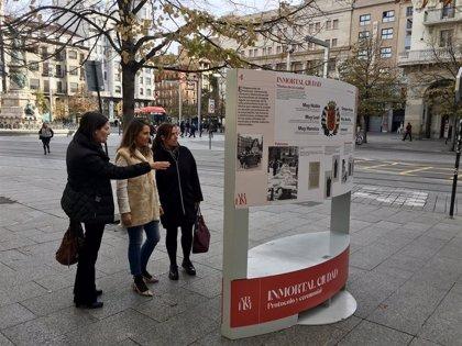 Una veintena de paneles muestran la historia y urbanismo de Zaragoza, en una exposición en el Paseo de la Independencia