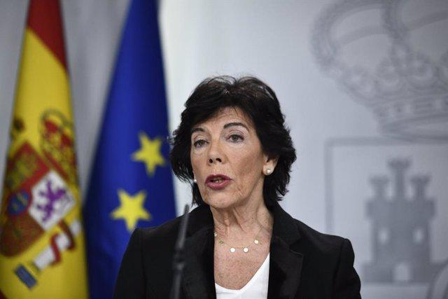 La ministra portaveu en funcions, Isabel Celaá.