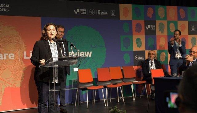 L'alcaldessa de Barcelona, Ada Colau, durant l'Assemblea General de clausura al congrés mundial de Ciutats i Governs Locals Units (CGLU)