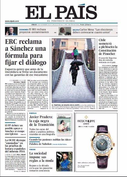 Las portadas de los periódicos del sábado 16 de noviembre de 2019
