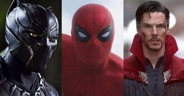 Montaje con fotogramas de películas de Marvel, que muestran a Black Panther, Spiderman y Doctor Strange.