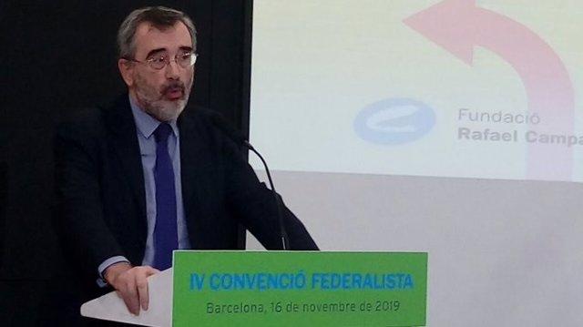 El president del Senat, Manuel Cruz (PSC), en la IV Convenció Federalista de la Fundació Rafael Campalans a Barcelona el 16 de novembre del 2019.