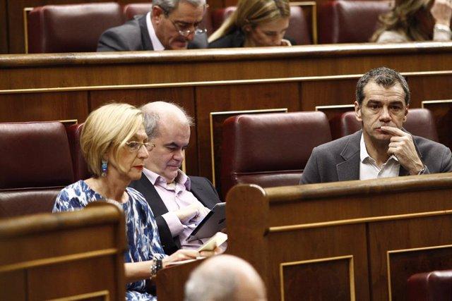 Diputados de Unión, Progreso y Democracia (UPyD) en el Congreso en 2014: Rosa Díez, Carlos Martínez Gorriarán y Toni Cantó