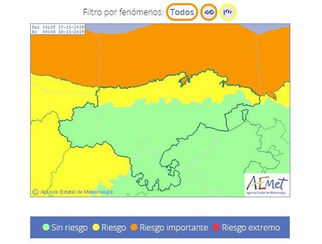 Avisos por viento y oleaje en Cantabria para el 17 de noviembre de 2019