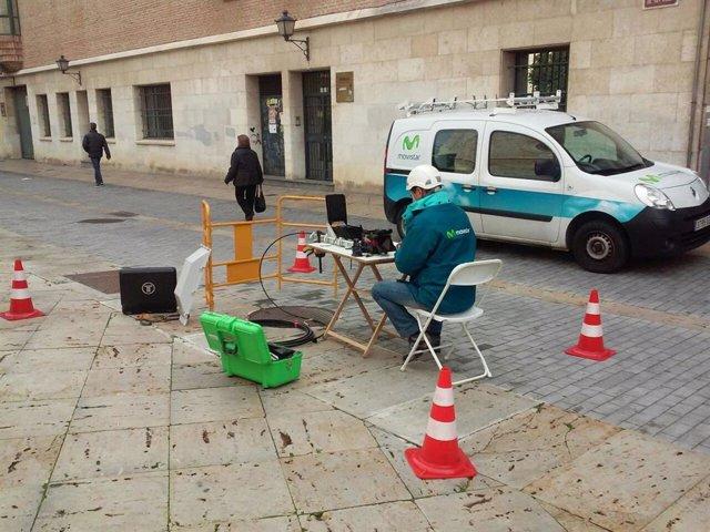 Imagen de la instalación de fibra en Palencia