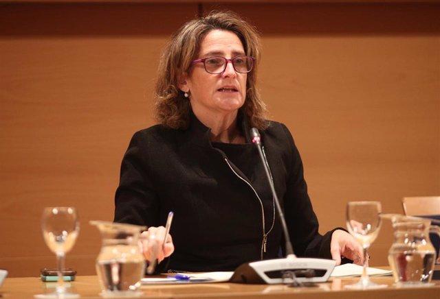 La ministra de Transición Ecológica en funciones, Teresa Ribera, durante una rueda de prensa