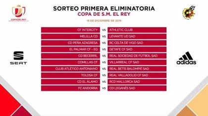 Bergantiños-Sevilla, Andorra-Leganés y Becerril-Real Sociedad, choques de primera ronda de la Copa del Rey