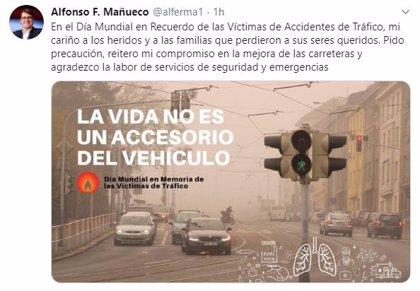 Mañueco transmite su cariño a las víctimas de accidentes de tráfico y reitera su compromiso de mejorar las carreteras