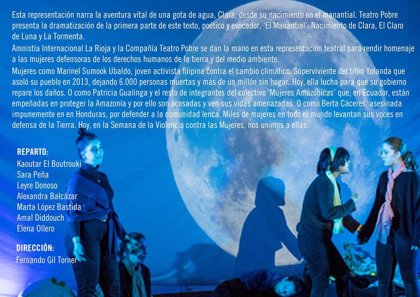 Amnistía Internacional y Teatro presentan 'Viajes de una gota de agua', en homenaje a defensoras de derechos humanos