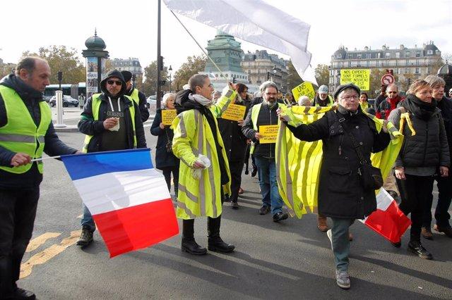 Manifestación de 'chalecos amarillos' en París