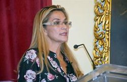 Jeanine Añez rep l'ambaixador de la UE a Bolívia, l'espanyol León de la Torre (ABI)