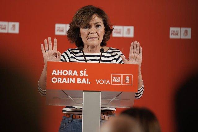 La vicepresidenta del Govern central en funcions, Carmen Calvo, intervé en un acte polític a Bilbao (Espanya), dimecres 6 de novembre del 2019.