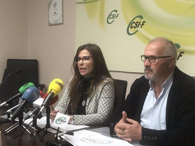 De izq a dcha: la secretaria de Prevención de Riesgos Laborales de CSIF, Encarna Abascal; y el presidente del sector nacional de Sanidad de CSIF, Javier Martínez