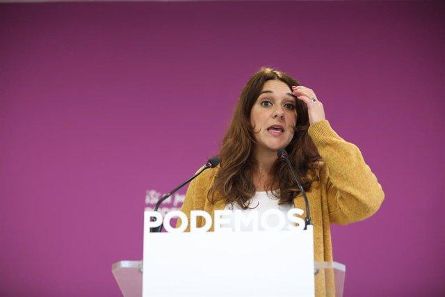 La portaveu de Podemos, Noelia Vera, ofereix una roda de premsa després del Consell de Coordinació del partit, Madrid (Espanya), 18 de novembre del 2019.