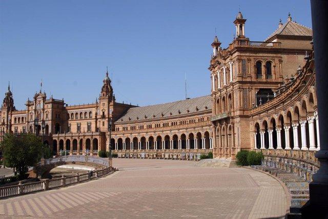 Sevilla.- Pimentel pide 300.000 euros para mejoras en la Plaza de España y parti