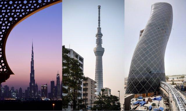 El Burj Khalifa (Emiratos Árabes Unidos), el Skytree (Japón) y el Capital Gate (Emiratos Árabes Unidos), de izquierda a derecha