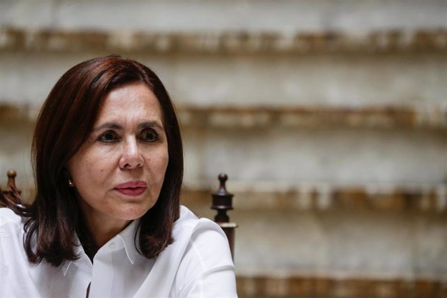 Karen Longaric, la designada ministra de Exteriores por la autoproclamada presidenta de Bolivia, Jeanine Áñez, en una rueda de prensa en el Palacio Presidencial de La Paz.