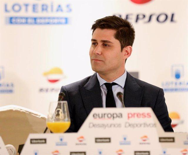 El presidente de la Asociación de Futbolistas Españoles, David Aganzo, interviene en un Desayuno Deportivo de Europa Press.