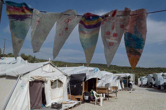 Centro de internamiento de inmigrantes de Moria, en Lesbos, Grecia