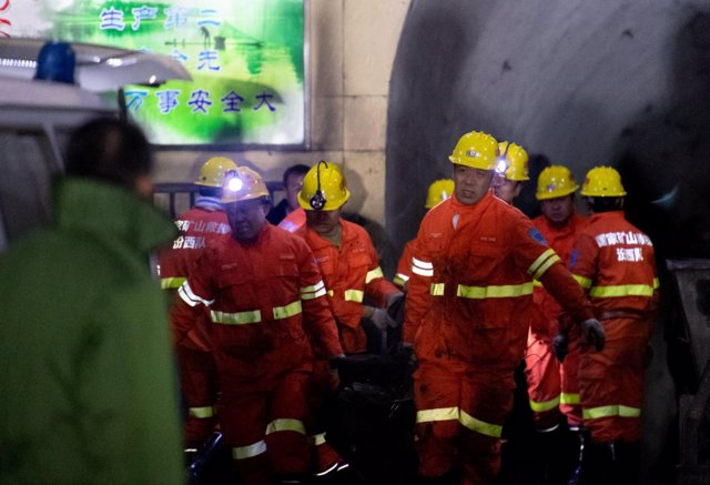 2019Firefighters conduct rescue work at the site following a gas explosion at a coal mine in Pingyao county, Shanxi province, China