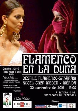 Cartel de un desfile de flamenco en Mérida