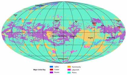 Primer mapa geológico global de la dinámica luna Titán