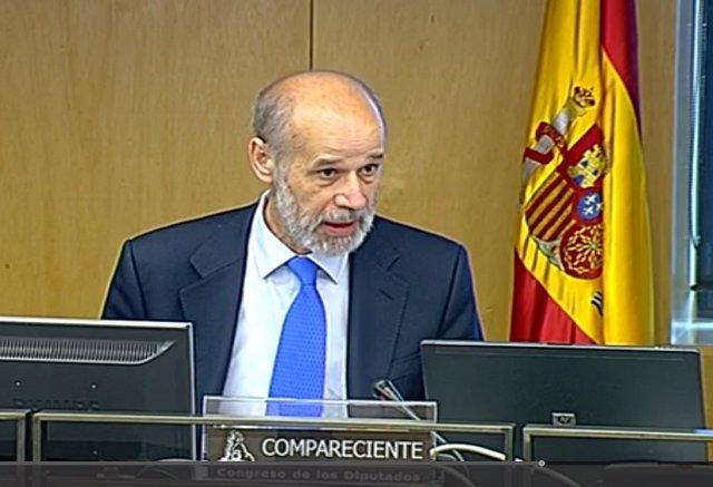 El secretario de Estado de Energía, José Domínguez Abascal, en la comparecencia en la Comisión de Transición Ecológica en el Congreso de los Diputados para presentar la partida en Energía del proyecto de Presupuestos Generales del Estado (PGE) para 2019