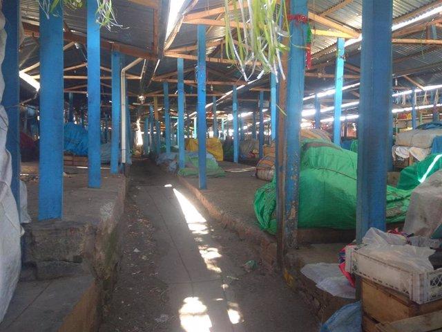 Un mercado desabastecido en La Paz
