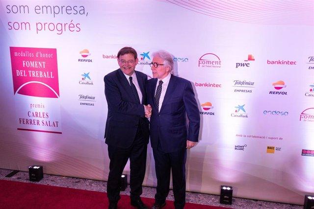 El president de la Comunitat Valenciana, Ximo Puig, i el president de Foment del Treball, Josep Sánchez Llibre.