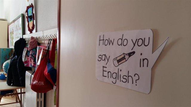 Aula de inglés en un colegio de Zaragoza.