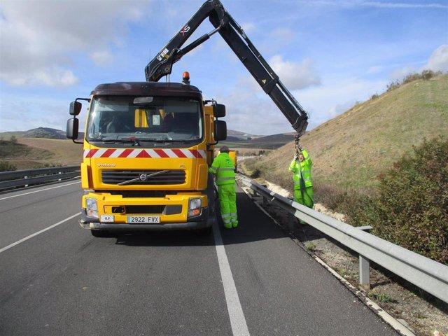 Operarios trabajan en el arreglo de una carretera de la zona oeste de la provincia de Málaga