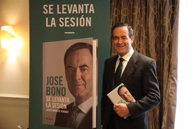 El exministro socialista y expresidente del Congreso, José Bono, durante la presentación de su libro 'Se levanta la sesión. ¿Quién manda de verdad?', en Madrid (España),a 19 de noviembre de 2019.