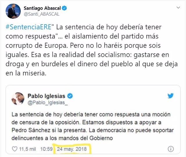 Captura del tweet del presidente de Vox, Santiago Abascal, tras la sentencia de los ERE