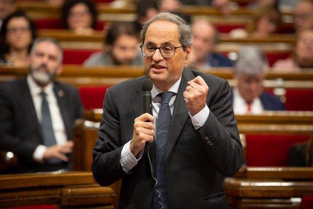 El president de la Generalitat de Catalunya, Quim Torra, durant la seva intervenció en una sessió plenria del Parlament, Barcelona /Catalunya (Espanya)