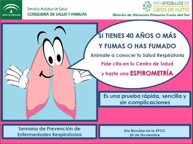 Cartel semana prevención EPOC Distrito Costa del Sol